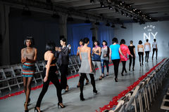 NEW YORK, NY - OCTOBER 25: Models walk runway rehearsal during Made in the USA Spring 2015 lingerie showcase preparations Royalty Free Stock Images