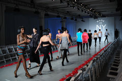 NEW YORK, NY - OCTOBER 25: Models walk runway rehearsal during Made in the USA Spring 2015 lingerie showcase preparations Stock Photography