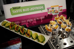 NEW YORK, NY - OCTOBER 25: Snacks, tacos and meet free food served by Gardein brand at  Spring 2015 lingerie showcase preparations Stock Photo