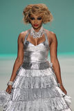 NEW YORK, NY - SEPTEMBER 10: Cynthia Bailey walks the runway at the Betsey Johnson fashion show Royalty Free Stock Images