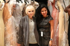 NEW YORK, NY - SEPTEMBER 06: Designer Kati Stern (L) backstage before Venexiana show Royalty Free Stock Image