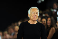 NEW YORK, NY - SEPTEMBER 12: Designer Ralph Lauren walks the runway at the Ralph Lauren fashion show Royalty Free Stock Photos