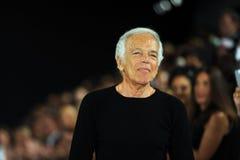 NEW YORK, NY - 12. SEPTEMBER: Designer-Ralph Lauren-Wege die Rollbahn an der Ralph Lauren-Modeschau Lizenzfreie Stockfotos