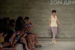 NEW YORK, NY - SEPTEMBER 06: Designer Son Jung Wan walks the runway at the Son Jung Wan Spring 2015 fashion show Stock Images