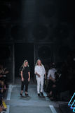 NEW YORK, NY - SEPTEMBER 09: Designers Katie Hillier and Luelle Bartley walk the runway at the Marc By Marc Jacobs fashion show Stock Images