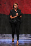 NEW YORK, NY - SEPTEMBER 08: Donna Karan greets the audience after presenting her Donna Karan New York SS2015 Collection Royalty Free Stock Photos