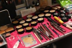 NEW YORK, NY - SEPTEMBER 06: General view of makeup backstage at Venexiana Royalty Free Stock Photo