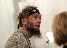NEW YORK, NY - SEPTEMBER 06: Hair stylist Earl Pindar works backstage at Venexiana Royalty Free Stock Image