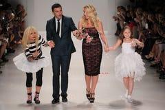 NEW YORK, NY - SEPTEMBER 10: (L-R)  Betsey Johnson, dancer Tony Dovolani, daughter Lulu Johnson and granddaughter Royalty Free Stock Images