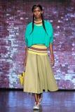 NEW YORK, NY - SEPTEMBER 07: Model Adesuwa Pariyapasat walks the runway at DKNY Spring 2015 fashion collection Royalty Free Stock Image