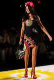 NEW YORK, NY - SEPTEMBER 04: Model Adriana Lima walks the runway at Desigual Spring 2015 fashion show Stock Photos