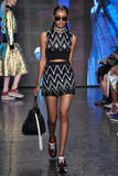 NEW YORK, NY - SEPTEMBER 07: Model Alewya Demmisse walks the runway at DKNY Spring 2015 fashion collection Royalty Free Stock Photography