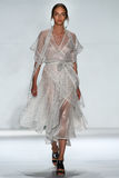 NEW YORK, NY - SEPTEMBER 05: Model Alma Durand walks the runway at the Zimmermann fashion show Stock Images