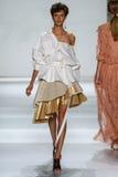 NEW YORK, NY - SEPTEMBER 05: Model Aloysha Kovalyova walks the runway at the Zimmermann fashion show Royalty Free Stock Photo