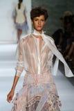 NEW YORK, NY - SEPTEMBER 05: Model Aloysha Kovalyova walks the runway at the Zimmermann fashion show Royalty Free Stock Photos