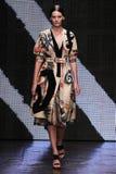 NEW YORK, NY - SEPTEMBER 08: Model Amanda Murphy walks the runway at Donna Karan Spring 2015 fashion collection Stock Photo