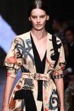 NEW YORK, NY - SEPTEMBER 08: Model Amanda Murphy walks the runway at Donna Karan Spring 2015 fashion collection Royalty Free Stock Images