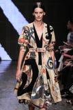 NEW YORK, NY - SEPTEMBER 08: Model Amanda Murphy walks the runway at Donna Karan Spring 2015 fashion show Royalty Free Stock Photos
