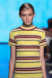 NEW YORK, NY - SEPTEMBER 07: Model Anna Mellbin walks the runway at DKNY Spring 2015 fashion collection Royalty Free Stock Photo
