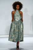 NEW YORK, NY - SEPTEMBER 05: Model Bianca Gittens walks the runway at the Zimmermann fashion show Royalty Free Stock Photo