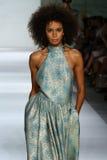 NEW YORK, NY - SEPTEMBER 05: Model Bianca Gittens walks the runway at the Zimmermann fashion show Stock Image