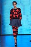 NEW YORK, NY - SEPTEMBER 07: Model Binx Walton walks the runway at DKNY Spring 2015 fashion collection Royalty Free Stock Photo
