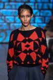 NEW YORK, NY - SEPTEMBER 07: Model Binx Walton walks the runway at DKNY Spring 2015 fashion collection Stock Photo