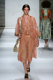 NEW YORK, NY - SEPTEMBER 05: Model Carly Moore walks the runway at the Zimmermann fashion show Stock Images