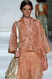NEW YORK, NY - SEPTEMBER 05: Model Carly Moore walks the runway at the Zimmermann fashion show Stock Photography
