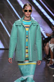 NEW YORK, NY - SEPTEMBER 07: Model Carolin Loosen walks the runway at DKNY Spring 2015 fashion collection Stock Photography