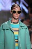 NEW YORK, NY - SEPTEMBER 07: Model Carolin Loosen walks the runway at DKNY Spring 2015 fashion collection Stock Photos
