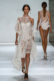 NEW YORK, NY - SEPTEMBER 05: Model Carolina Thaler walks the runway at the Zimmermann fashion show Stock Image