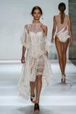 NEW YORK, NY - SEPTEMBER 05: Model Carolina Thaler walks the runway at the Zimmermann fashion show Stock Image