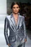 NEW YORK, NY - SEPTEMBER 05: Model Carolina Thaler walks the runway at the Zimmermann fashion show Royalty Free Stock Photos