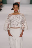 NEW YORK, NY - SEPTEMBER 08: Model Chiharu Okunugi walks the runway at the Carolina Herrera fashion show Royalty Free Stock Images