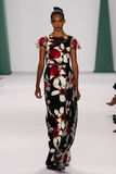 NEW YORK, NY - SEPTEMBER 08: Model Cora Emmanuel walks the runway at the Carolina Herrera fashion show Stock Images