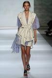 NEW YORK, NY - SEPTEMBER 05: Model Cordelia Kuznetsova walks the runway at the Zimmermann fashion show Royalty Free Stock Photos