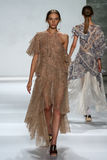 NEW YORK, NY - SEPTEMBER 05: Model Cordelia Kuznetsova walks the runway at the Zimmermann fashion show Stock Photography