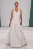 NEW YORK, NY - SEPTEMBER 08: Model Daphne Groeneveld walks the runway at the Carolina Herrera fashion show. During MBFW Spring 2015 at The Theatre at Lincoln stock photo