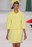 NEW YORK, NY - SEPTEMBER 08: Model Diana Moldovan walks the runway at the Carolina Herrera fashion show. During MBFW Spring 2015 at The Theatre at Lincoln Royalty Free Stock Photography