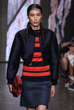 NEW YORK, NY - SEPTEMBER 07: Model Dylan Xue walks the runway at DKNY Spring 2015 fashion collection Royalty Free Stock Image