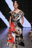 NEW YORK, NY - SEPTEMBER 08: Model Elisabeth Erm walks the runway at Donna Karan Spring 2015 fashion collection Stock Photo