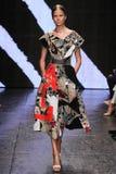NEW YORK, NY - SEPTEMBER 08: Model Elisabeth Erm walks the runway at Donna Karan Spring 2015 fashion show Royalty Free Stock Images