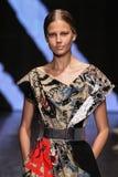 NEW YORK, NY - SEPTEMBER 08: Model Elisabeth Erm walks the runway at Donna Karan Spring 2015 fashion show Stock Image