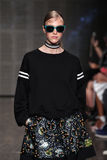 NEW YORK, NY - SEPTEMBER 07: Model Hedvig Palm walks the runway at DKNY Spring 2015 fashion collection Royalty Free Stock Image