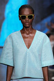 NEW YORK, NY - SEPTEMBER 07: Model Herieth Paul walks the runway at DKNY Spring 2015 fashion collection Royalty Free Stock Images