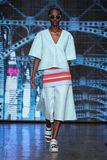 NEW YORK, NY - SEPTEMBER 07: Model Herieth Paul walks the runway at DKNY Spring 2015 fashion collection Royalty Free Stock Image