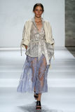 NEW YORK, NY - SEPTEMBER 05: Model Iekeliene Stange walks the runway at the Zimmermann fashion show Stock Photos