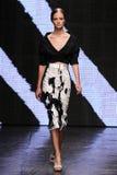 NEW YORK, NY - SEPTEMBER 08: Model Ine Neefs walks the runway at Donna Karan Spring 2015 fashion show Royalty Free Stock Photo