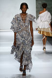 NEW YORK, NY - SEPTEMBER 05: Model Janica Compte walks the runway at the Zimmermann fashion show Royalty Free Stock Images